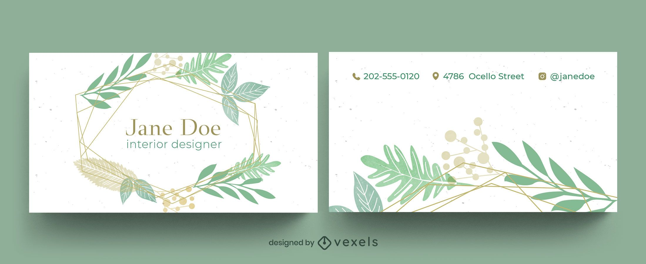 Design de cartão de visita de folhas de jardim