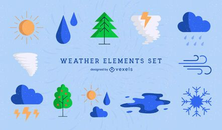 Weather conditions nature icons set