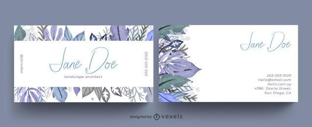 Projeto de cartão de visita com folhas em aquarela