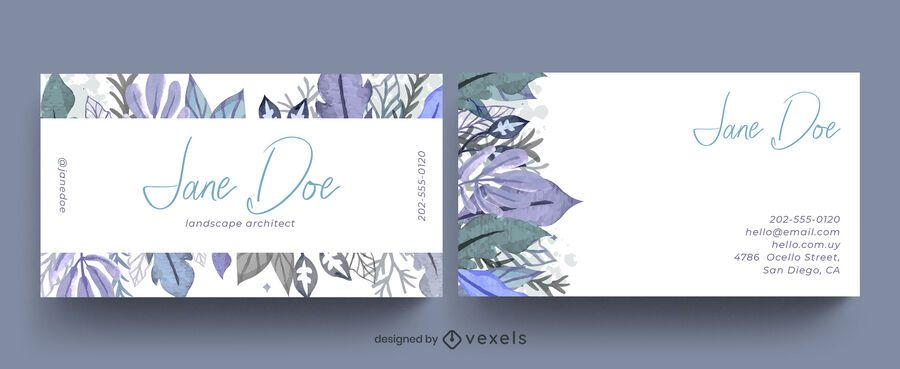 Watercolor leaves business card design