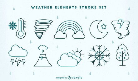 Conjunto de trazos de elementos de tipos de clima