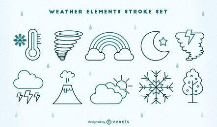 Weather types elements stroke set