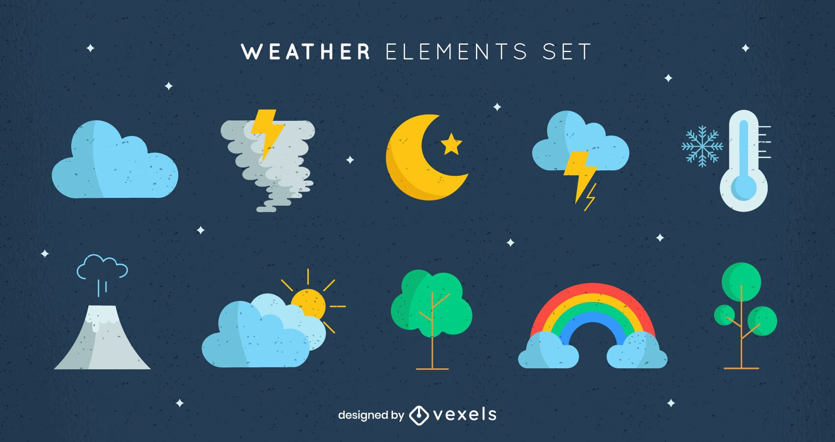 Types of weather nature elements set