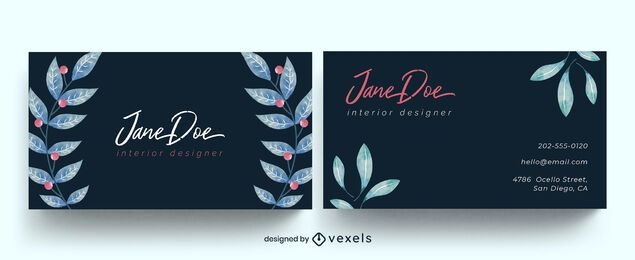 Watercolor leaves nature business card design
