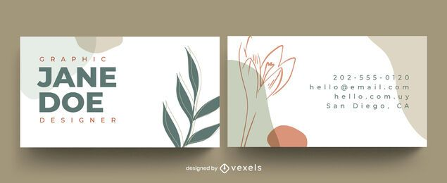Business card abstract leaves design