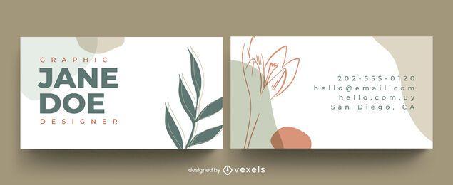 Desenho de folhas abstratas de cartão de visita