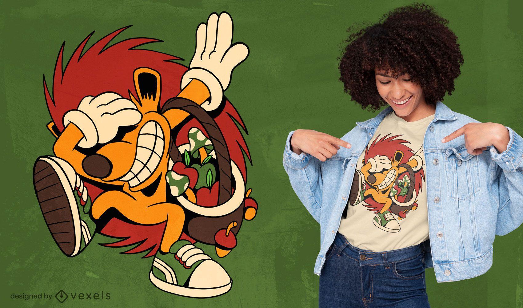 Dabbing hedgehog cartoon t-shirt design