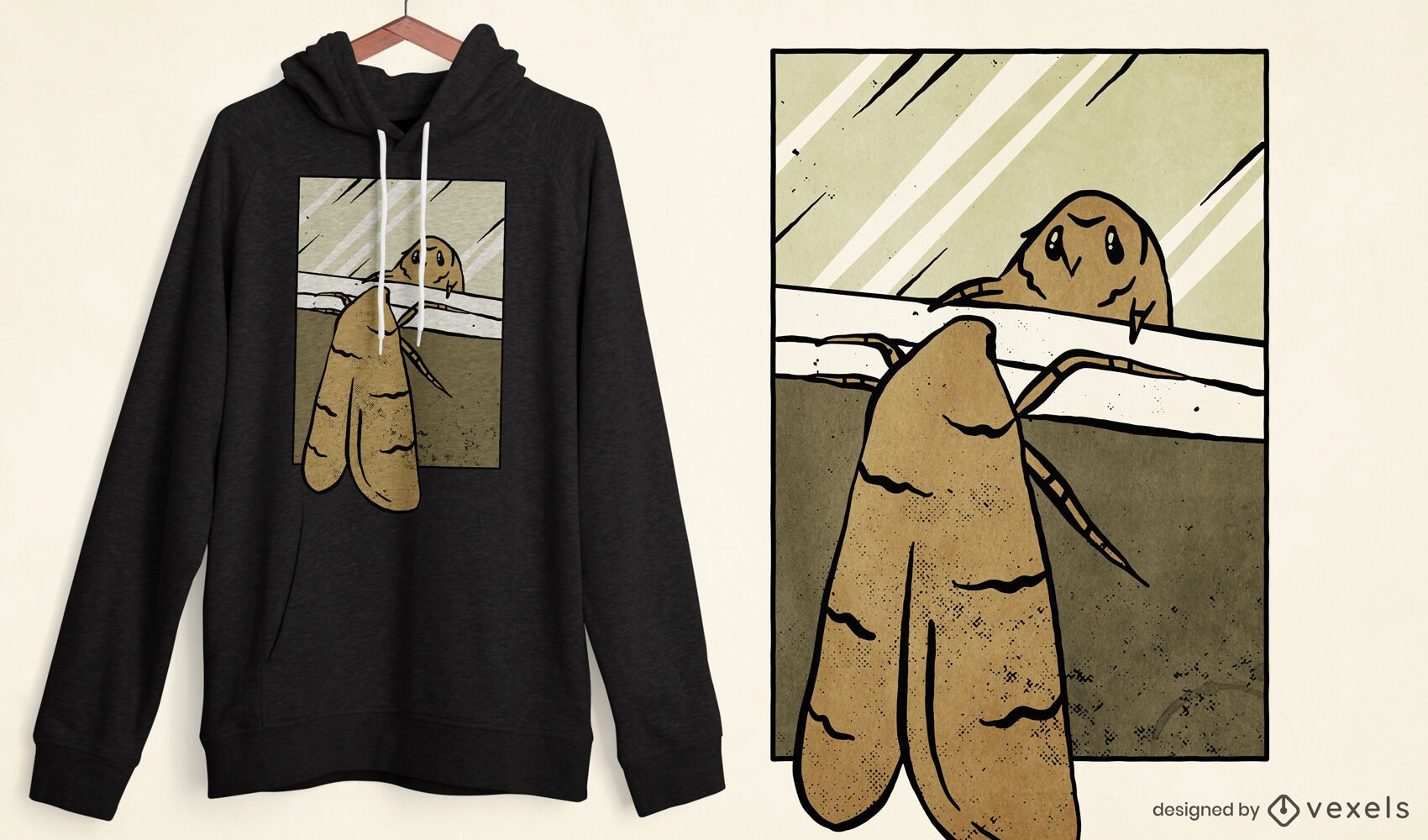 Diseño de camiseta mirror moth meme