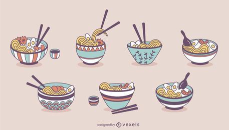 Ramen noodle bowls japanese food set