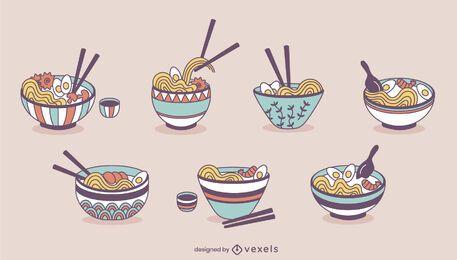 Tazones de fideos ramen set de comida japonesa