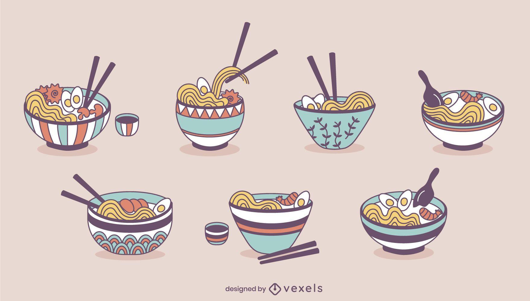Talheres de macarrão ramen conjunto de comida japonesa