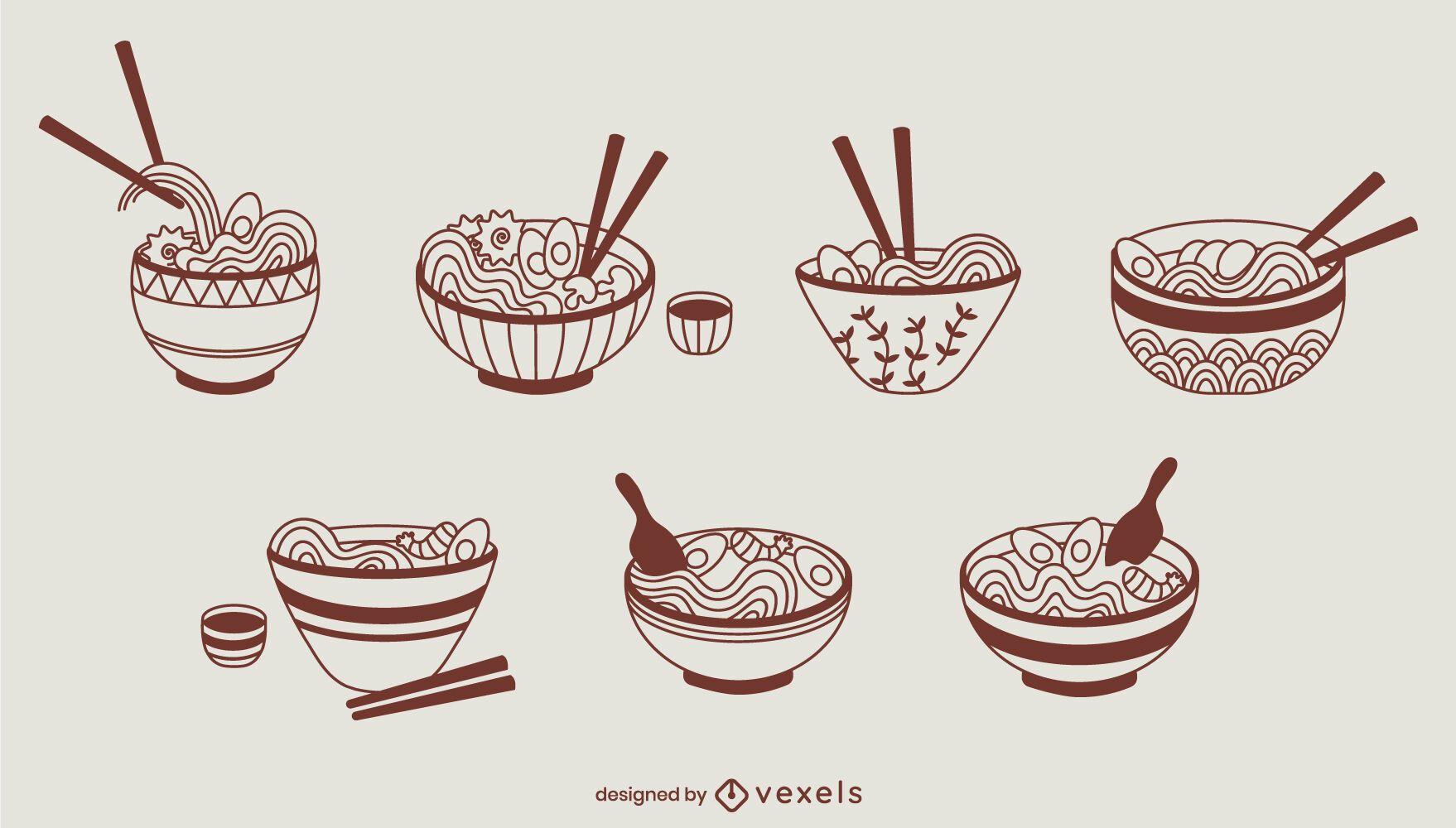 Conjunto de comida japonesa étnica com taças de ramen