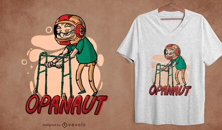 Old man astronaut helmet t-shirt design