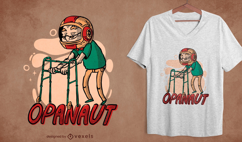 Desenho de camiseta de capacete de astronauta para velhinho