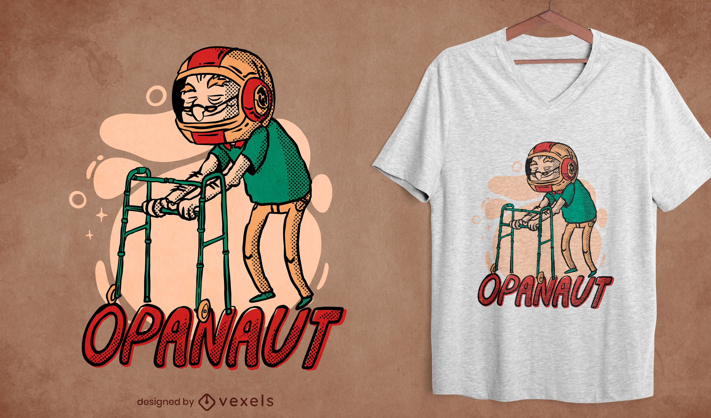 Diseño de camiseta de casco de astronauta de anciano
