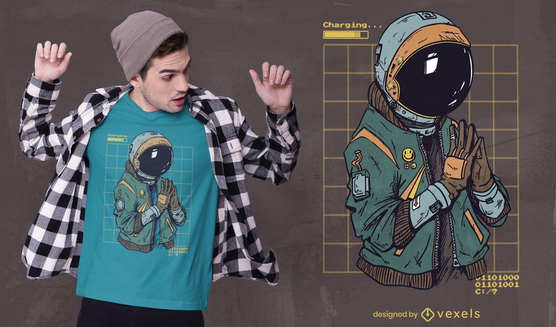 Design de camiseta com terno cyber punk de astronauta