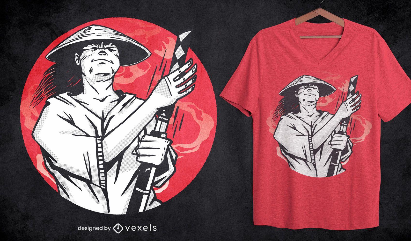 Design de camiseta com arma Samurai Katana