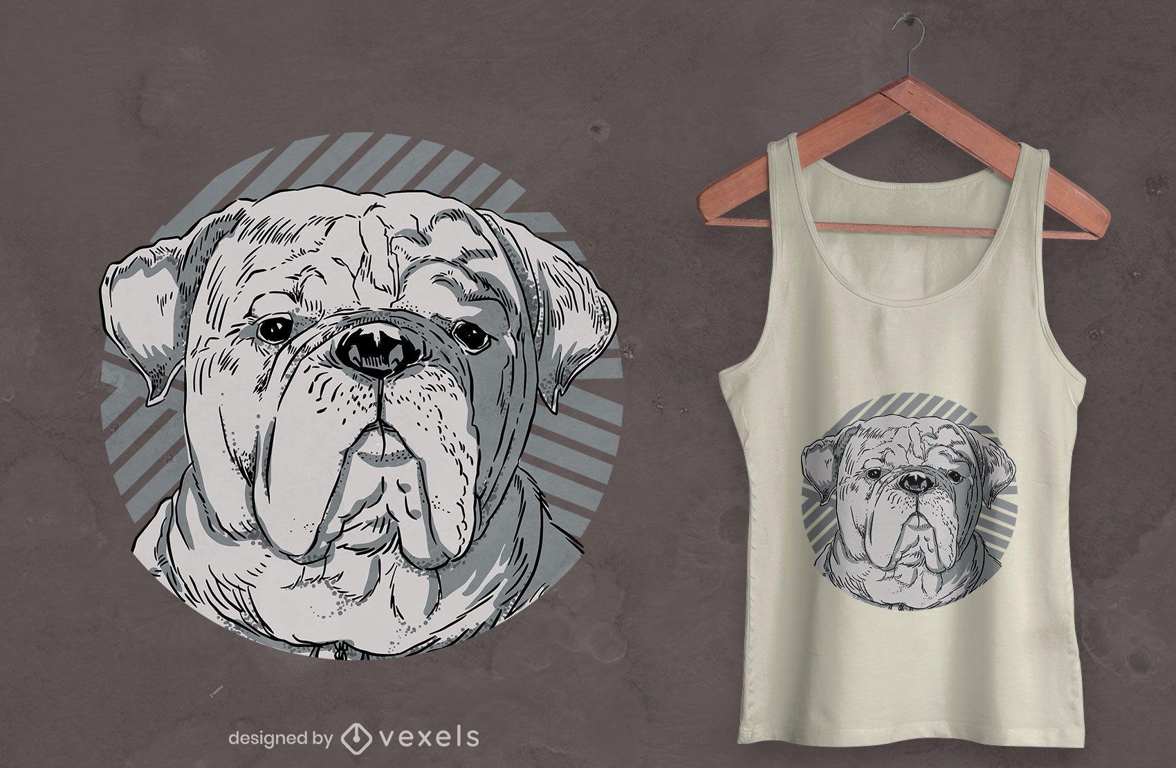 Design de t-shirt com retrato realista de animal de cão