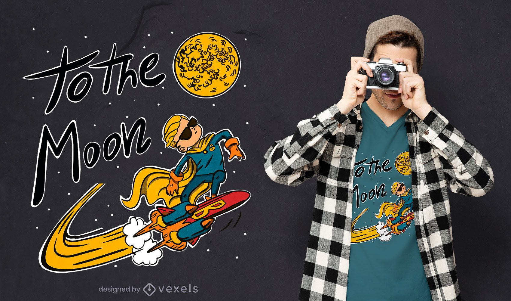Menino surfando no design de camiseta espacial
