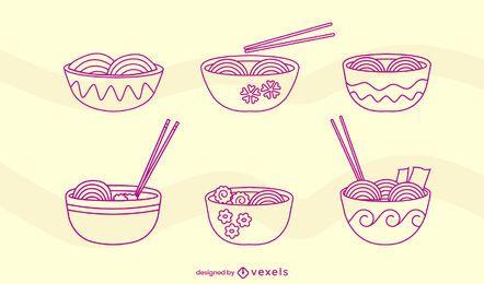 Juego de trazos de comida japonesa de tazones de ramen