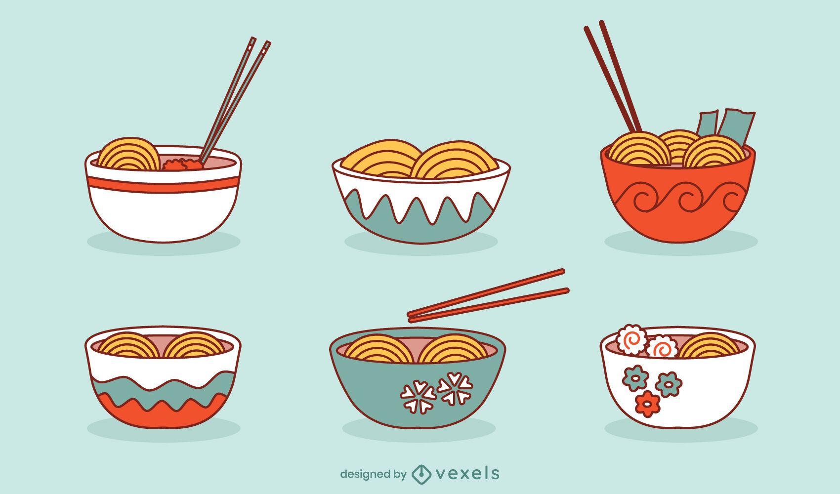 Conjunto de pauzinhos de comida étnica para taças de Ramen