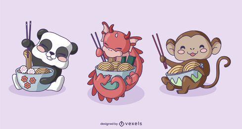 Personajes de animales comiendo ramen set.