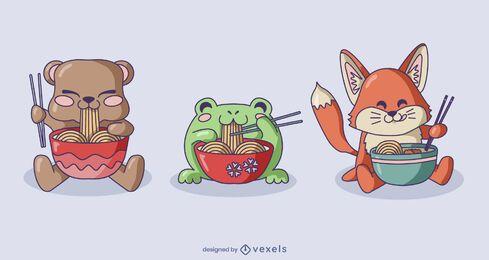 Conjunto de ramen de personagens de animais bebês