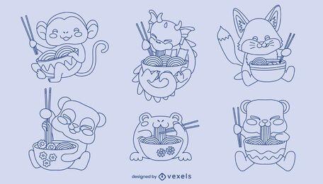 Conjunto de trazos de comida de ramen de personajes de animales bebé