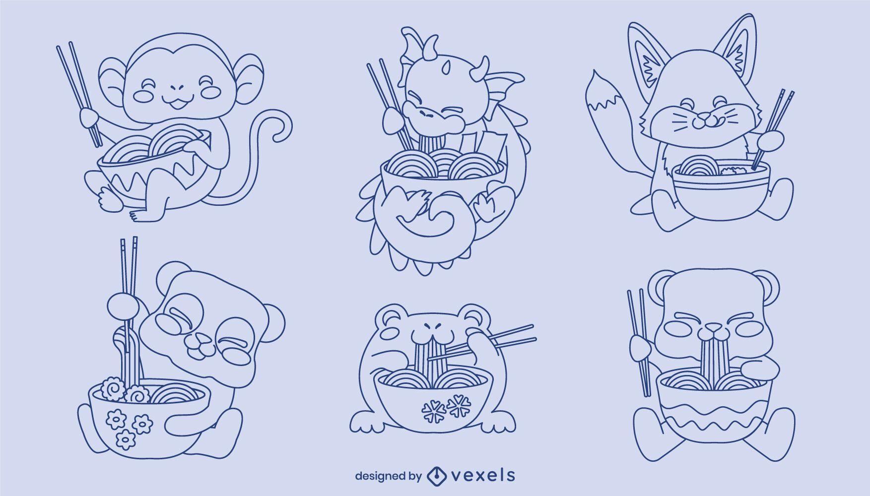 Conjunto de carateres de animais bebês ramen