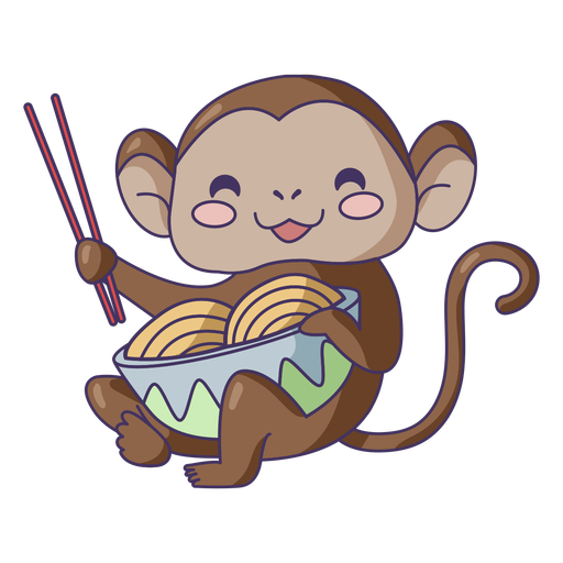 Monkey eating ramen cute