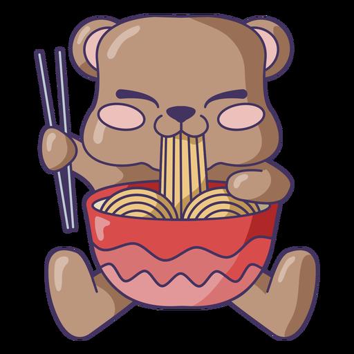 Bear eating ramen cute