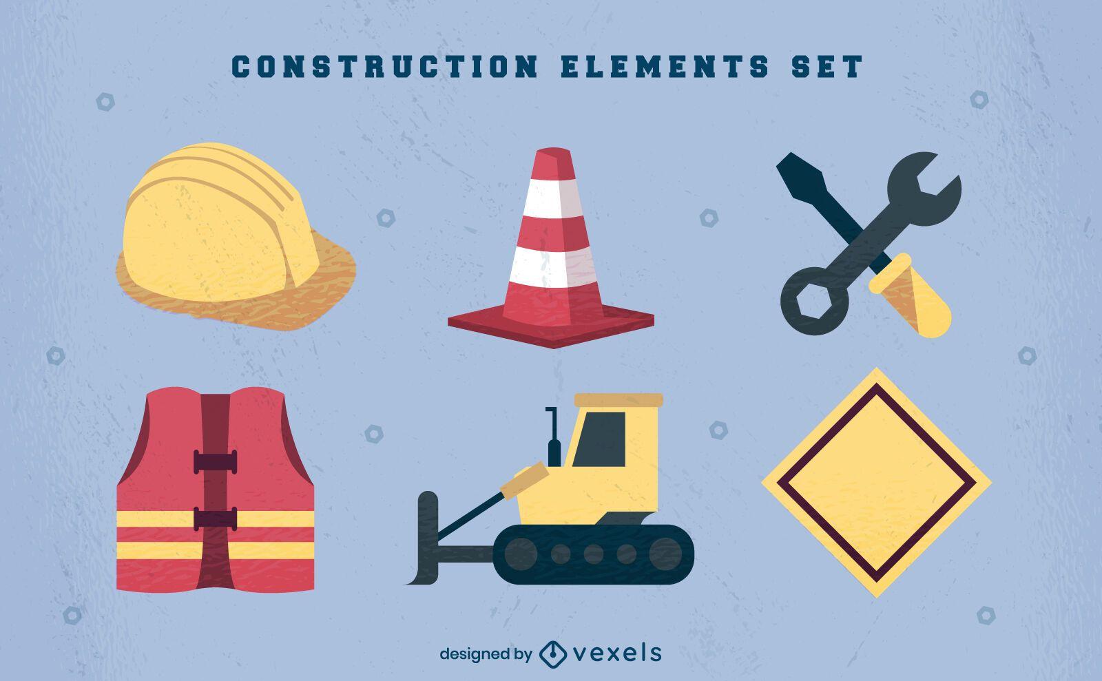 Conjunto de elementos y uniforme de construcción