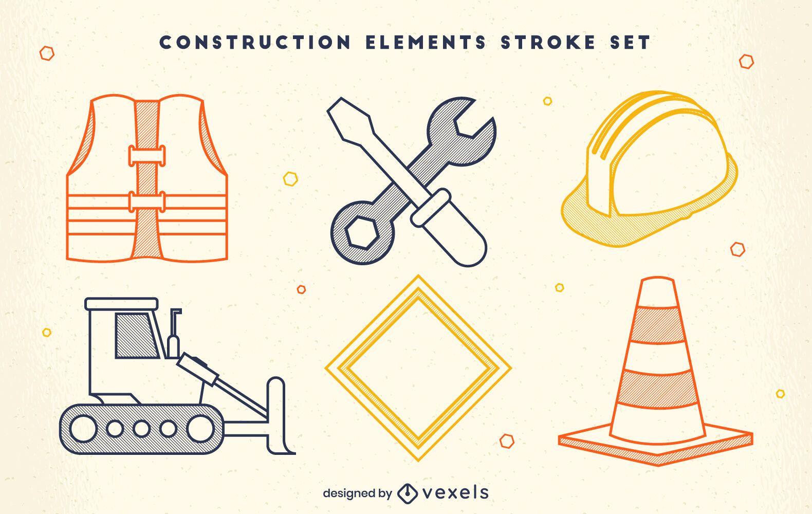 Conjunto de trazo de trabajo de elementos de construcción