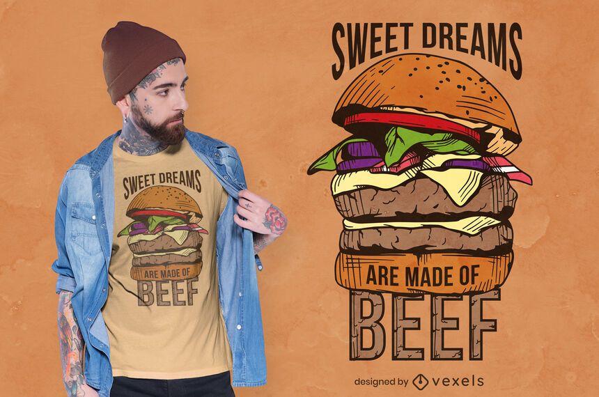 Desenho de t-shirt com ilustração de comida Hamburguer