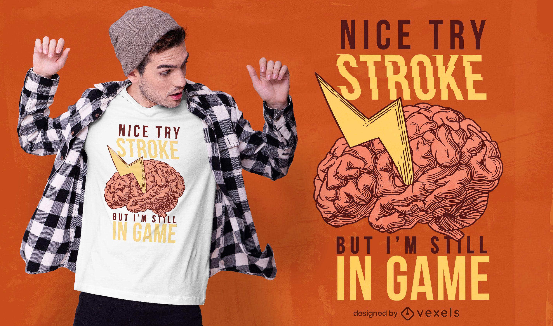 Design de camiseta com citação de cérebro em forma de raio