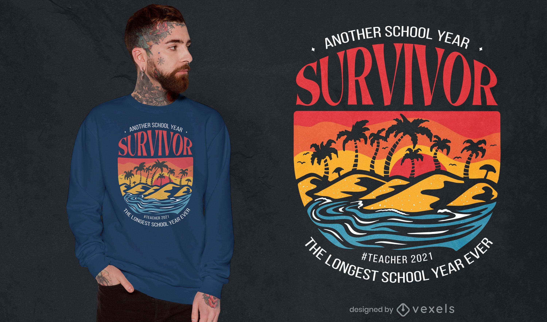 Dise?o de camiseta de cita de a?o escolar de la isla