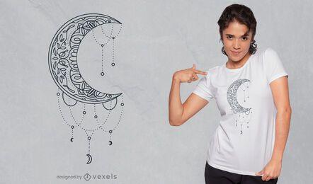 Diseño de camiseta con decoración de mandala de media luna.