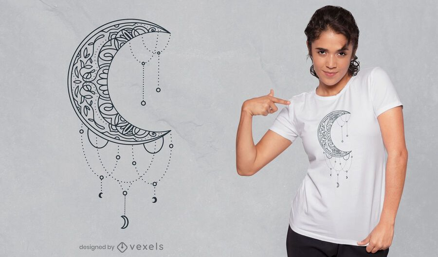 Half moon mandala decoration t-shirt design