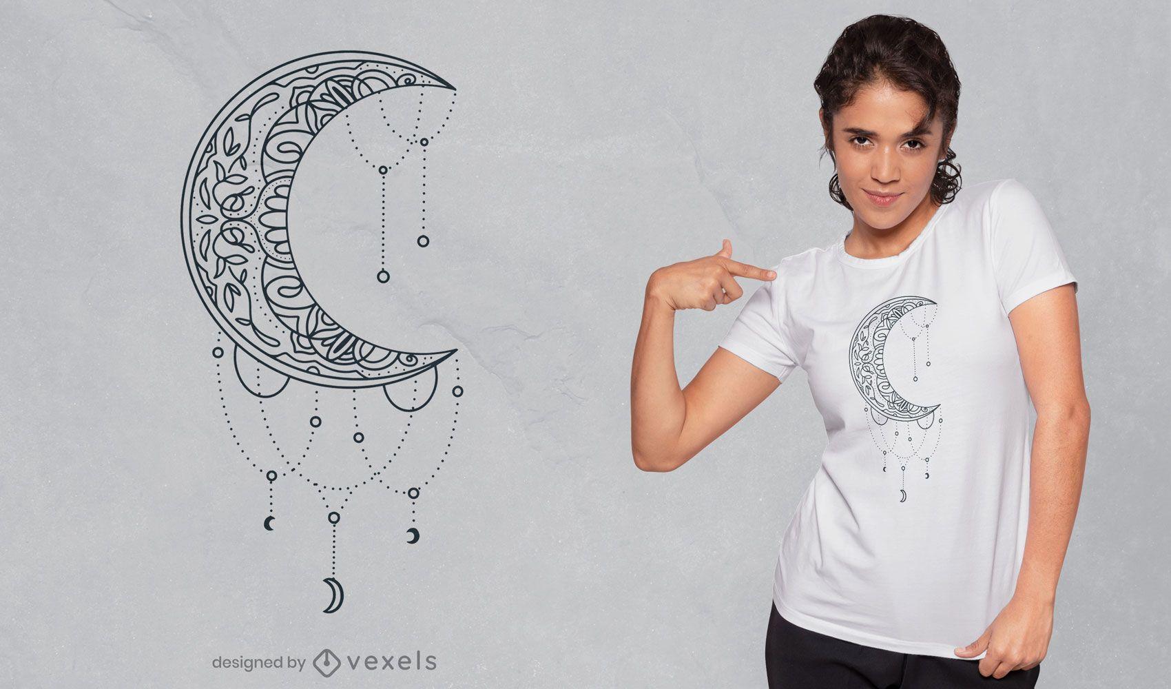 Design de t-shirt com decoração de mandala meia lua