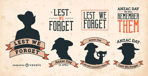 Holiday Anzac day badges silhouette set