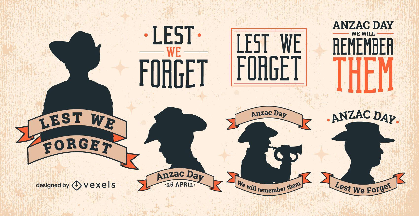 Conjunto de silueta de insignias del día de Anzac de vacaciones