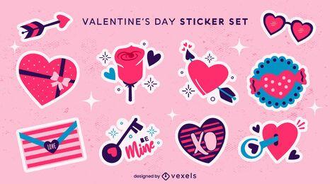 Valentine's day hearts sticket set