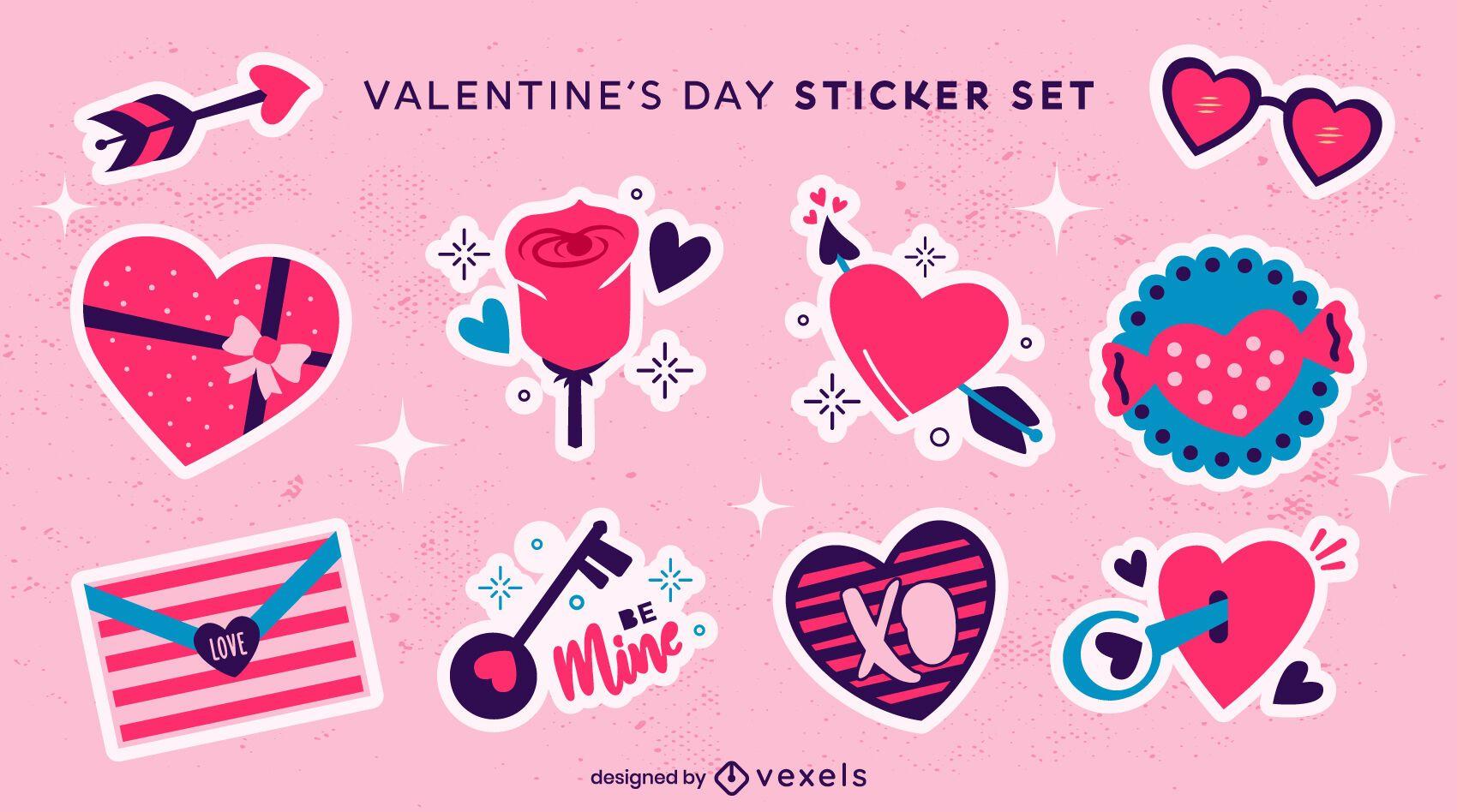 Conjunto de sticket de corações para dia dos namorados