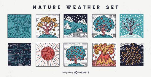 Conjunto de mosaico de condiciones climáticas de la naturaleza