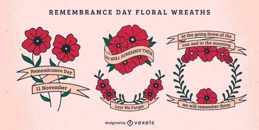 Conjunto de decoração floral do dia da lembrança
