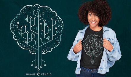 Diseño de camiseta de naturaleza de árbol tecnológico.