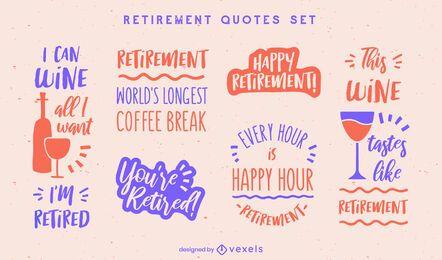 Happy retirement drinking badges set