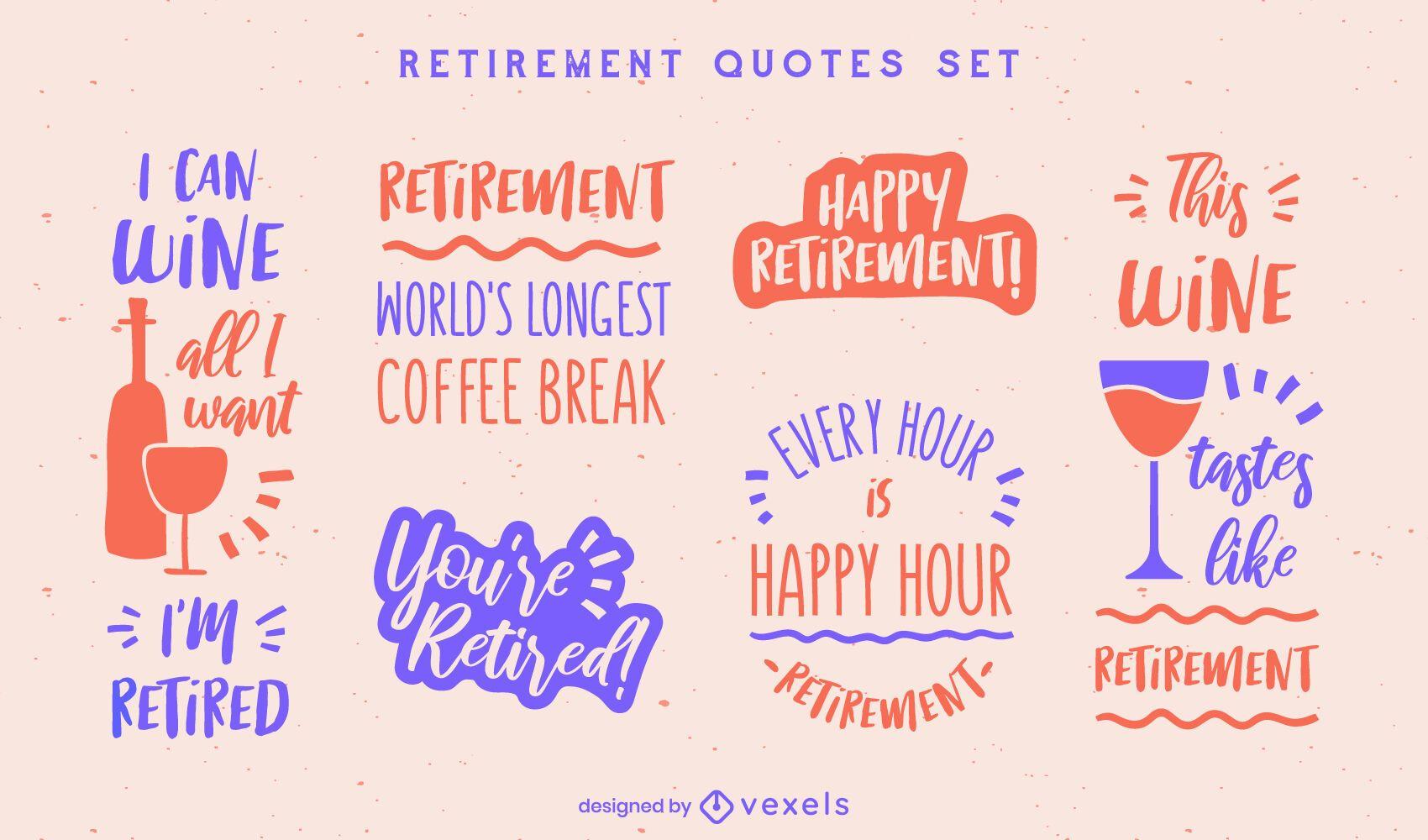 Conjunto de insignias de beber feliz jubilación