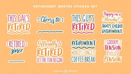Happy retirement sticker quote set