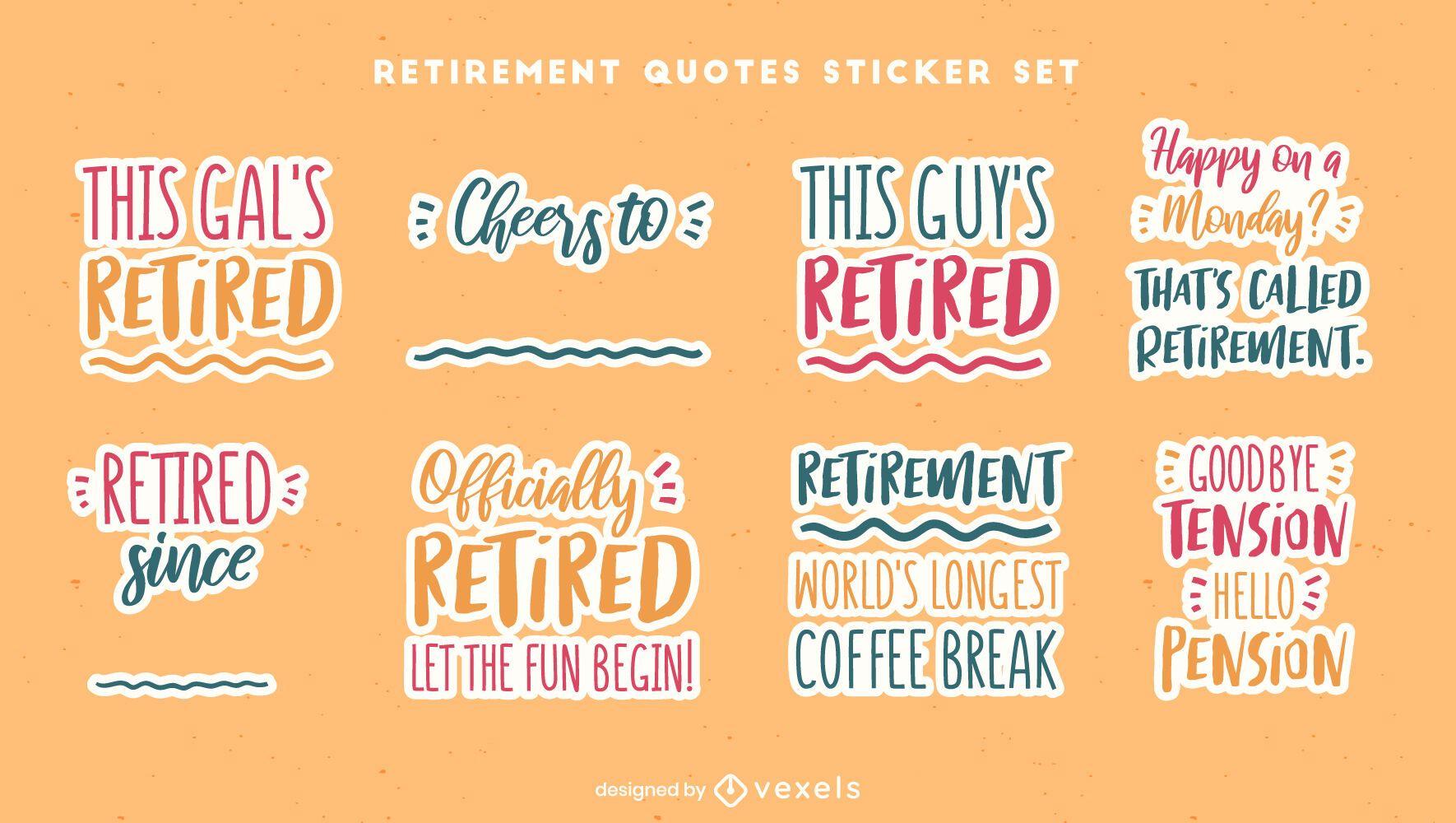 Conjunto de cotizaciones de pegatinas de jubilación feliz